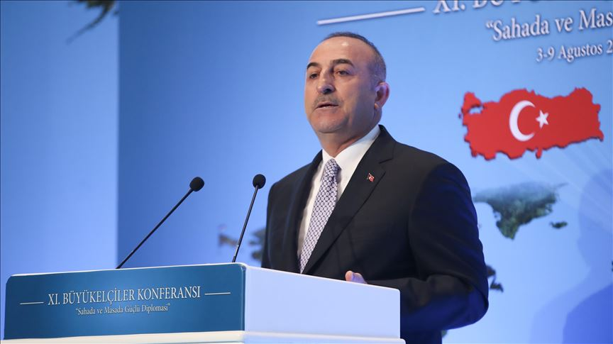 Turkish Foreign Minister Mevlut Cavusoglu speaks at 11th Ambassadors' Conference Aug 5, 2019 Pic Anadol