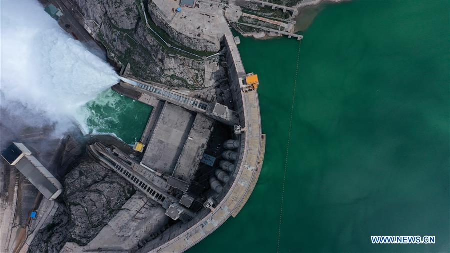 An aerial foto of Lijianxia Hydropower Station opens gate to release water 09 July 2020