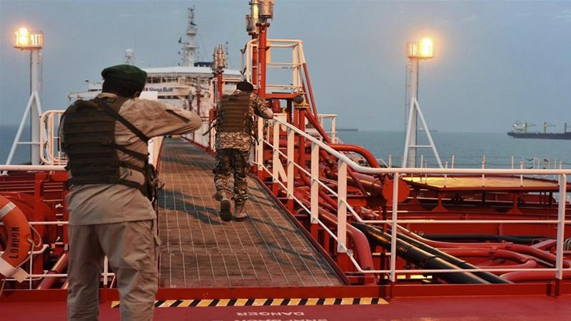Iran's Revolutionary Guard inspect British-flagged oil tanker Stena Impero seized in Strait of Homuz, dated 21 July 2019