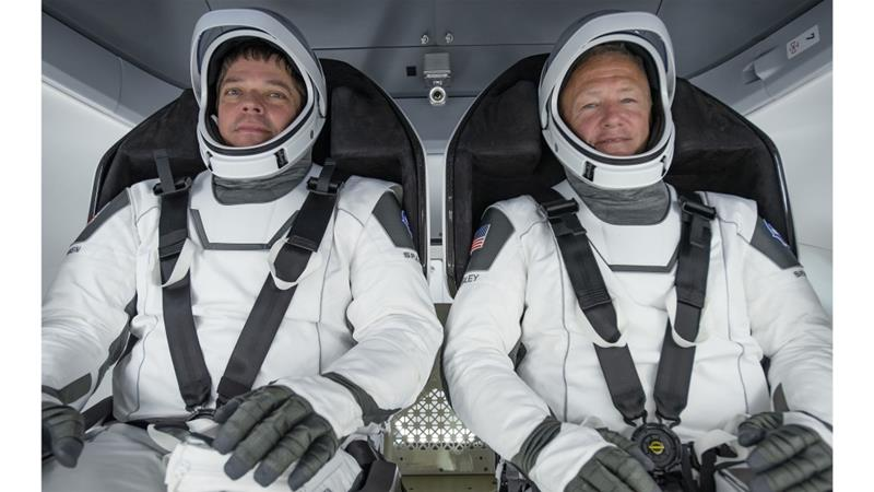 NASA astronauts Bob Behnken (L) and Doug Hurley have safely returned to Earth Pic SpaceX handout-EPA-AlJazeera
